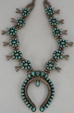 Vintage Zuni fine Cluster Turquoise HUGE squash blossom necklace by FRED WEEKOTY