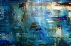 ERIK SKOLDBERG blue, silver, yellow liner 36x72 acrylic on canvas