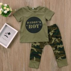 Army Green Daday's Boy/Girl Newborn Baby Boys Girls T-shirt Tops Pants Outfits Set Clothes #babyoutfit #babyclothes #babyclothesnewborn