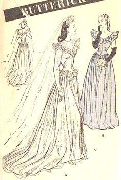 """1940s Ruffled V Neck Basque Waist Peplum Wedding Bridesmaid Dress Vintage Sewing Pattern, Butterick 3685 bust 32"""""""