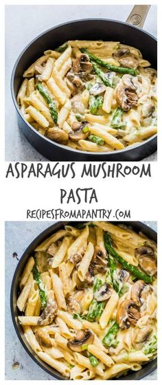 This asparagus mushroom pasta recipe is simple, tasty, comforting and awesome. #asparagus #mushroom #pastarecipes Recipesfromapantry.com