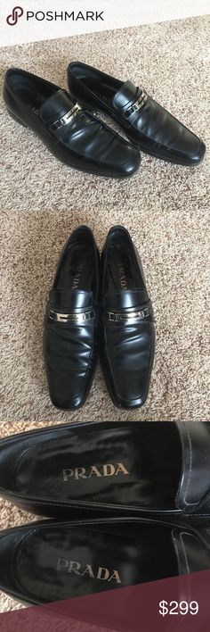 Authentic Prada Leather Shoes Authentic! These are Prada men's black leather shoes. Size 9 1/2. Hardware is silver tone. Used and in good condition. NO TRADE ❌ Prada Shoes