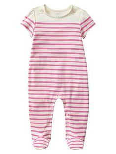 Baby Gap Neon Double Pink Striped footed button one-piece