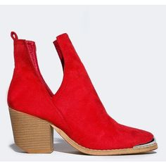 TESS-04 BOOTIE ($45) ❤ liked on Polyvore featuring shoes, boots, ankle booties, red, pull on boots, red ankle boots, party boots, red short boots and block heel boots