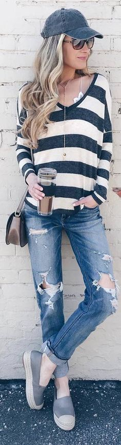 #spring #outfits striped top, ripped boyfriend jeans,espadriles