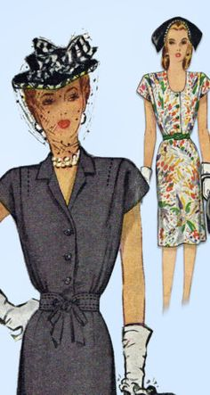 1940s-Vintage-McCall-Sewing-Pattern-6100-WWII-Misses-Shirtwaist-Dress-Size-34-B