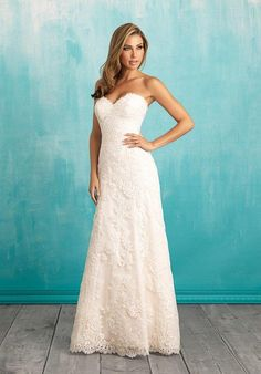 Lace A-line wedding dress with sweetheart neckline I Allure Bridals I http://knot.ly/6496BXyZ2