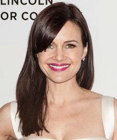 Carla Gugino Hairstyle - Long Straight Casual - Dark Brunette. Click on the image to try on this hairstyle and view styling steps!