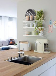 Idea for my new kitchen! Cosy Kitchen, Scandinavian Kitchen, New Kitchen, Kitchen Interior, Kitchen Dining, Kitchen Decor, Dining Room, Küchen Design, House Design