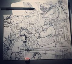 Bar scenes are great for reminding you to brush up on perspective  #cheers #whereeverybodyknowsyourname #art #beer#drawing#ink#ape#dontsay#ripharambe #itsnotfunny #lizard #twitter #battleberzerkerbalto #barkeep #bartender #pinterest #tumblr #blogger #whisky #whiskey #beef