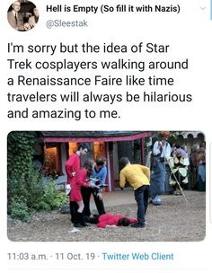 I need a group of Trekkie friends so I can do this. Funny Memes, Hilarious, Jokes, Funny Star Trek, Star Trek Meme, Star Wars, Starship Enterprise, To Infinity And Beyond, I Laughed
