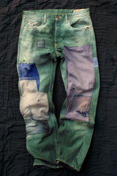 View topic - Kapital World :D Patched Jeans, Jeans Denim, Raw Denim, Blue Jeans, Man Jeans, Denim Flares, Patchwork Jeans, Vintage Denim, Denim Fashion