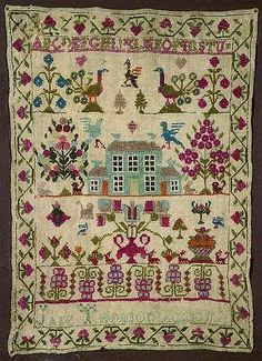 19th century needlework,Sampler with alphabet and house pictorial, by Jane.