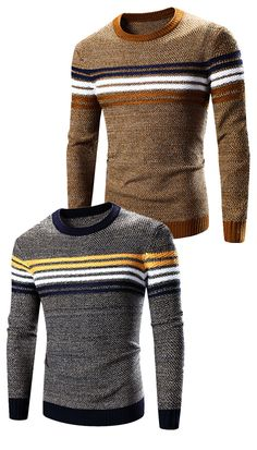$24.35 Crew Neck Striped Splicing Pattern Long Sleeve Sweater