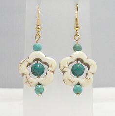 Turquoise White Magnesite Dangle Earrings Gold by AnotherOriginal