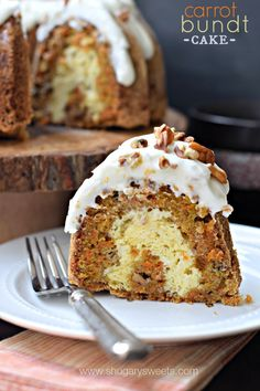 Carrot Bundt Cake with a ribbon of cheesecake swirl and Cream Cheese Frosting