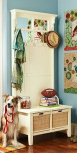 nice wall storage idea for entry way
