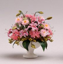 1:12th scale miniature Pink Lilies