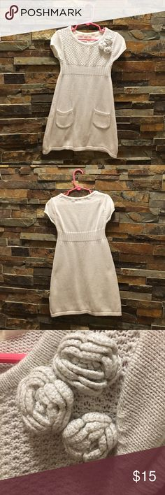 Girls XS (4-5) Silver Sweater Dress EUC Girls 🔸Size XS (4-5) 🔸Cherokee🔸 EUC 🔸Silver Lightly Glittered Sweater Dress with 3 Flowers in the top left & 2 pockets 🔸Short Sleeve 🔸comes from a smoke and pet free home 🔸please see my other listings, thanks❣️ Cherokee Dresses