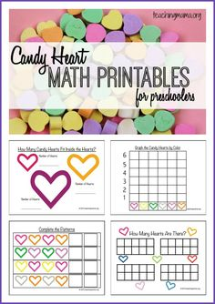 Free candy heart math printables for preschoolers. And a dancing hearts science experiment! Valentine Theme, Valentines For Kids, Valentine Day Crafts, Valentines Day Activities, Kid Activities, Educational Activities, Math Games, Preschool Crafts, Preschool Learning