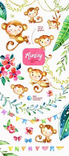 Monkey. Watercolour clip art. by StarJam on @creativemarket