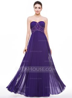 A-Line/Princess Sweetheart Floor-Length Chiffon Prom Dress With Beading Appliques Lace Sequins Pleated (018056790) - JJsHouse