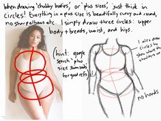 A five minute tutorial of Plus Sizes. If you can't read the handwriting just comment, it's hard to write with your fingers :P Draw Tips, Body Reference, Drawing Reference, Design Reference, Drawing Lessons, Drawing Techniques, Drawing Sketches, My Drawings, Drawing Stuff