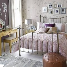 Bedroom , Small Bedroom Designs For Women : Small Bedroom Designs For Women With Wallpaper And Metal Bed