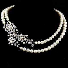 Statement+Wedding+Necklace+Swarovski+Crystal+Pearl+by+LuluSplendor,+$150.00