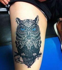 My (almost) hidden passion for ink — inspiringtats:  Blue Eyed Owl Tat...