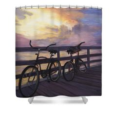 Bicycles On Colorful Sunset Dock Shower Curtain featuring the painting Coming And Going By Marilyn Nolan- Johnson by Marilyn Nolan-Johnson