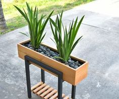 Enjoy this modern twotone raised planter in your home or office This planter will make a great addition at any entry, patio, and even living room At first glance, the legs might be confused for metal, but it& all wood - diy-home-decor