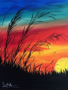 15 Acrylic Painting Ideas For Beginners – Brighter Craft Cute Canvas Paintings, Canvas Painting Tutorials, Small Canvas Art, Easy Canvas Painting, Nature Paintings, Landscape Paintings, Sunset Paintings, Painting Classes, Creative Painting Ideas