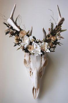 Deer Skull with Preserved Floral Crown by MaisonDeLaCroix on Etsy Deer Skull Art, Cow Skull Decor, Deer Skulls, Animal Skulls, Carved Skulls, Painted Skulls, Animal Skeletons, Deer Head Decor, European Mount