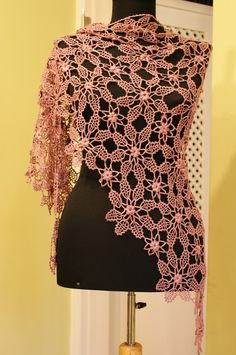 Pink Handcrochet Floss Silk Floral Shawl/High by KoriTuEfrati, $290.00