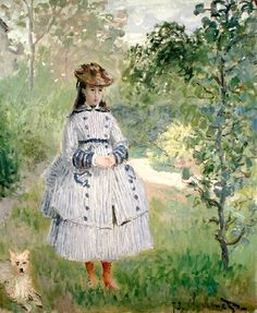 Girl in a Garden, 1873 (oil on canvas) Monet, Claude (1840-1926)