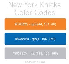 New York Knicks Team Color Codes