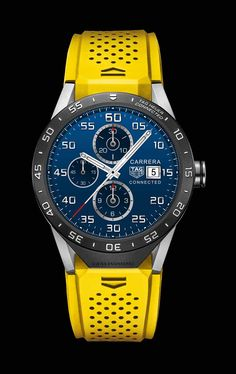 Buy TAG Heuer Connected 46 mm Titanium & Yellow Rubber Men's Watch at Hugh Rice Jewellers. Free delivery on TAG Heuer. Men's Watches, Sport Watches, Cool Watches, Amazing Watches, Beautiful Watches, Smartwatch, Patek Philippe, Luxury Watches For Men, Watch Brands