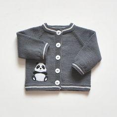 Panda suéter gris y chaqueta de lana bebé chaqueta por Tuttolv