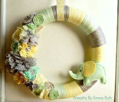 Wrapped Yarn Wreath Neutral Baby Elephant by WreathsByEmmaRuth