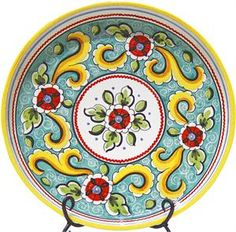 Hand-painted ceramic serving plate from Spain