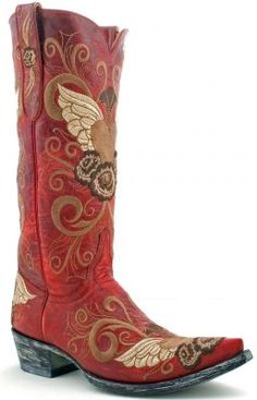 red cowboy boots with wings and hearts