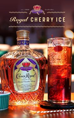 A generous host knows their gathering calls for whisky cocktails that all their guests will love. Try the Royal Cherry Ice at your next get together. Royal Holiday Cherry Ice: oz Crown Royal Deluxe 3 oz cherry juice Splash of grenadine Top with club soda Fancy Drinks, Bar Drinks, Cocktail Drinks, Yummy Drinks, Cocktail Recipes, Beverages, Cocktails, Bourbon Drinks, Whisky