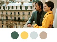 Color Inspiration, Wes Anderson Style — Wes Anderson Palettes Soft, smoky hues from Hotel Chevalier.