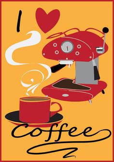 Free Printable retro coffee poster from mid century kitchens, print it out for your retro kitchen !