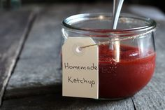 Quick Ketchup: 12-14 ounces tomato paste (my favorite tomato paste comes in 7 oz jars) 1/3 cup honey or maple syrup, 1/2 cup apple cider vinegar, 2 tablespoons onion powder, 1 teaspoon unrefined sea salt, 1/4 scant teaspooon allspice