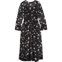 Carven Printed tiered voile midi dress ($730) ❤ liked on Polyvore featuring dresses, black, flower printed dress, pleated midi dress, floral printed dress, midi slip dress and pleated dress