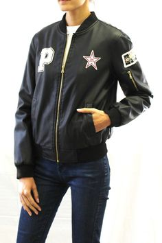 Patched Faux Leather Bomber Jacket