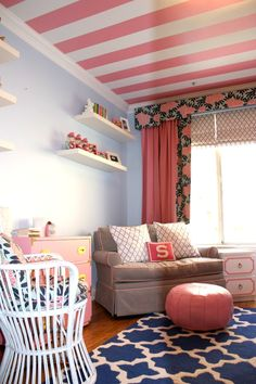 Eclectic chic nursery - how fun is this pink striped ceiling + @cwdtextiles fabric?!