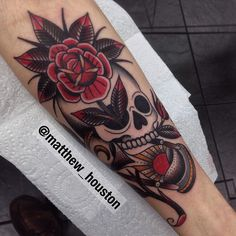 Matthew Houston Subtle skull, rose and hourglass based off my customers Chris's concept. Thanks bruv. #skull #rose #hourglass #sun #moon #traditional #tattoo @sevendoorstattoo